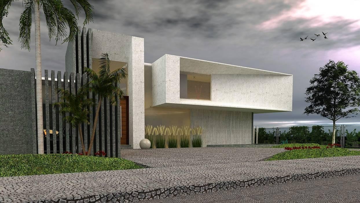 Vista Frontal Casas modernas: Ideas, imágenes y decoración de CASTELLINO ARQUITECTOS (+) Moderno Hormigón