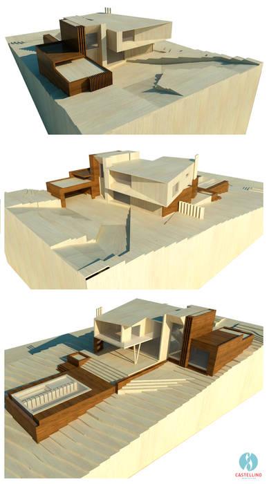 Perspectivas Atmosféricas Casas modernas de CASTELLINO ARQUITECTOS (+) Moderno Concreto
