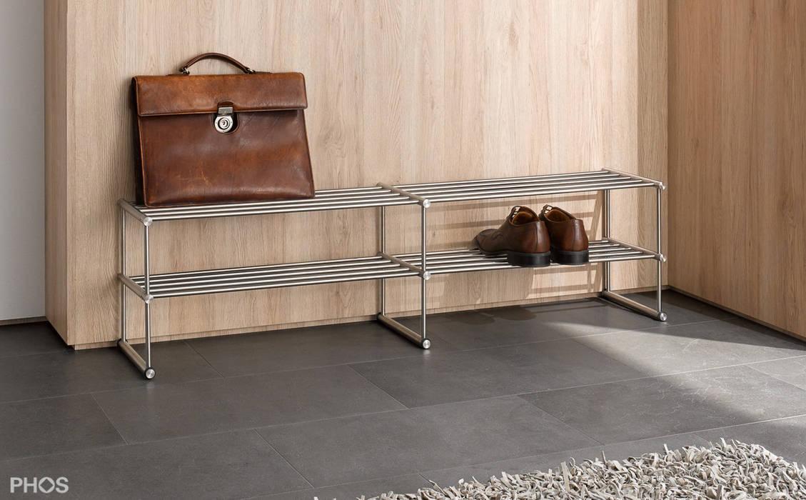 Schuhregal edelstahl design flur diele treppenhaus von phos