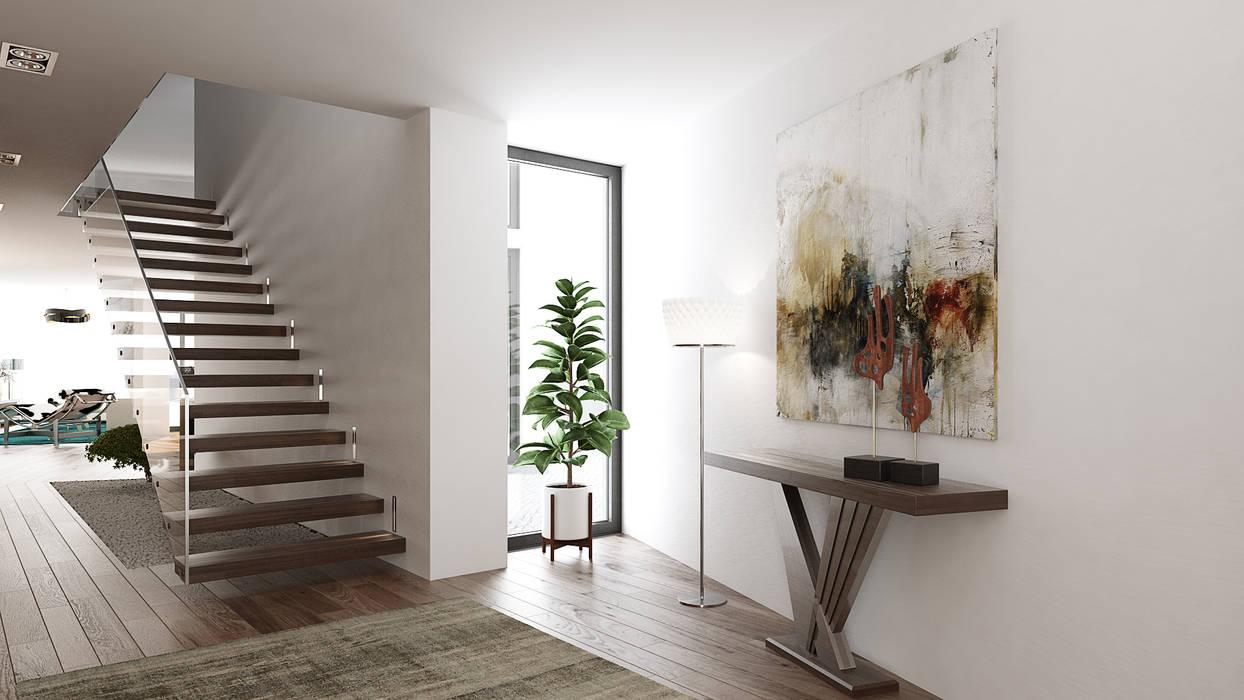 Modern Corridor, Hallway and Staircase by Esboçosigma, Lda Modern