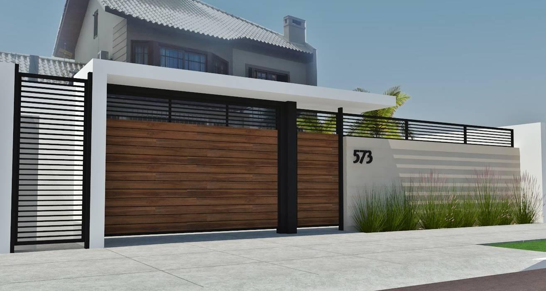 PROJETO DE FACHADA: Casas  por Natália de Bona Arquitetura,Moderno
