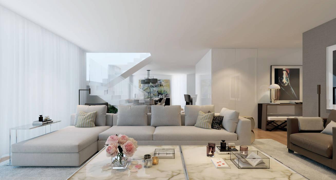 REQUINTE: Sala de estar  por CASA MARQUES INTERIORES,