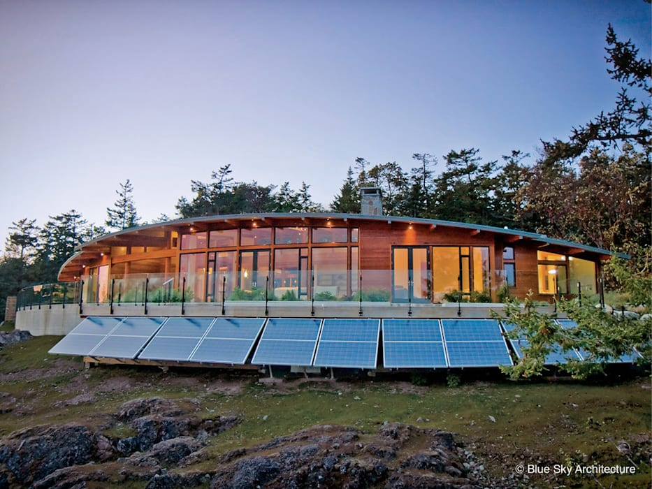 Exterior View of Solar Panels Helliwell + Smith • Blue Sky Architecture Modern Houses
