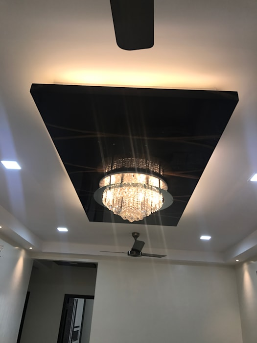 Luxury Interior Design 3 BHK Flat Nabh Design & Associates Minimalist living room Plywood