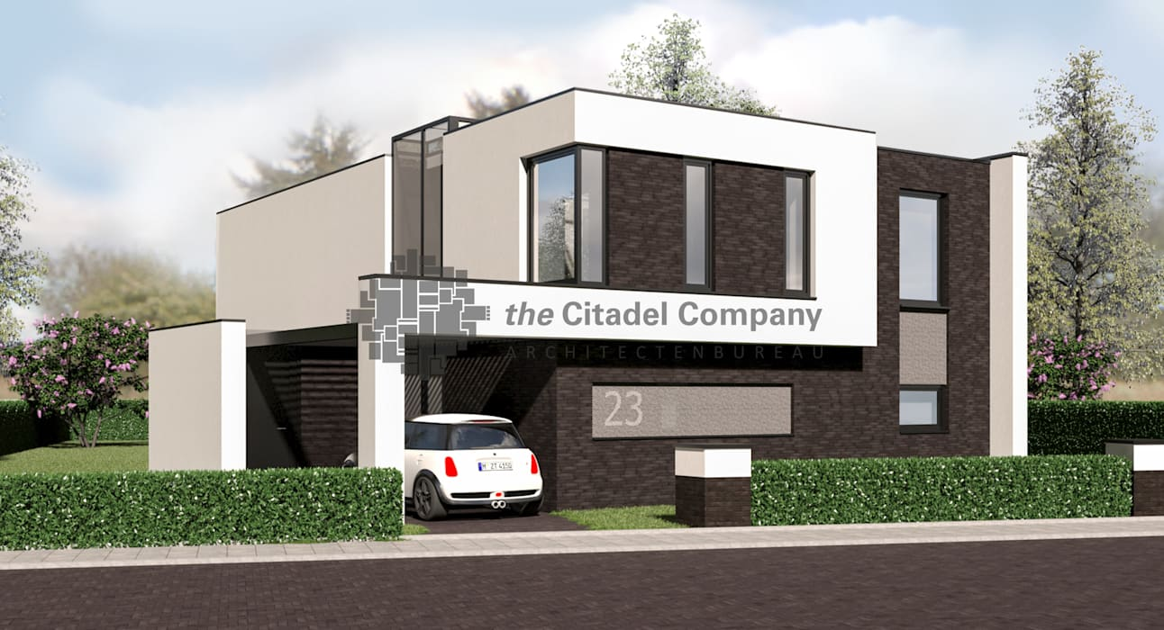 Moderne kubistische vrijstaande woning huizen door for Moderne vrijstaande woning