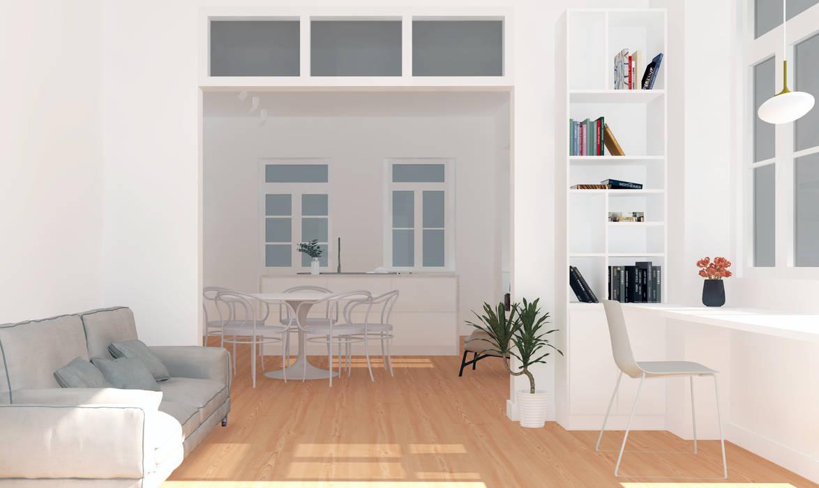 Proposta de reabilitação - escritório: Escritórios e Espaços de trabalho  por Esfera de Imagens Lda,Moderno