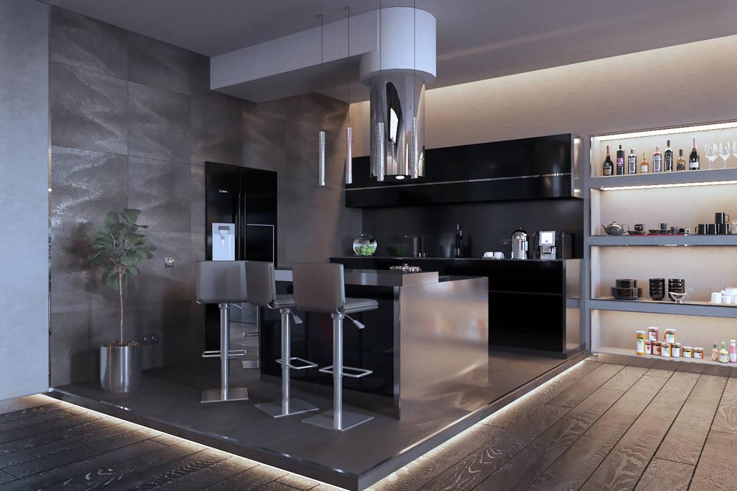 Брутальный минимализм: Кухни в . Автор – СТУДИЯ ДИЗАЙНА ИНТЕРЬЕРА BeHome-Design,