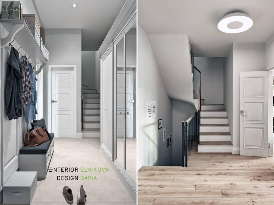 Студия архитектуры и дизайна Дарьи Ельниковой Country style corridor, hallway & stairs
