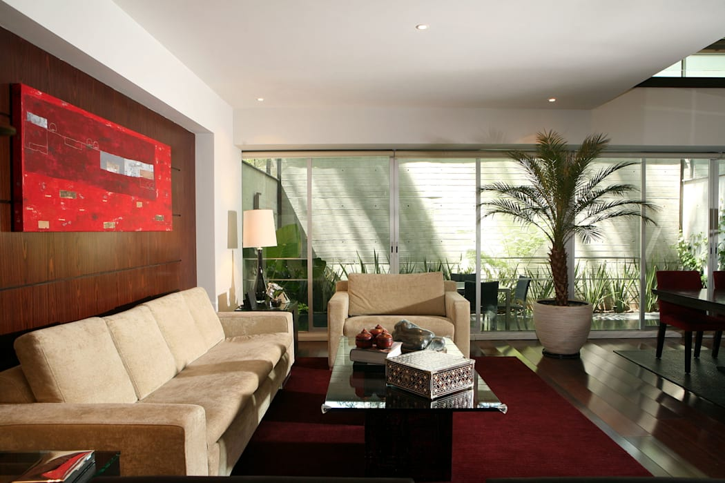 Modern living room by JMS DISEÑO DE INTERIORES MUEBLES Y CONSTRUCCION Modern Engineered Wood Transparent