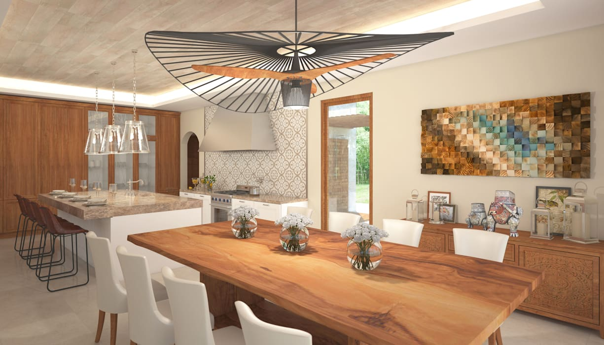 Tropical style dining room by Hdl Studio Tropical Wood Wood effect