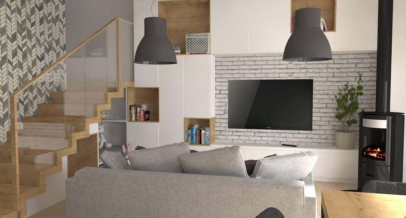 Kuchnia połączona z salonem: styl , w kategorii Salon zaprojektowany przez PUFA STUDIO
