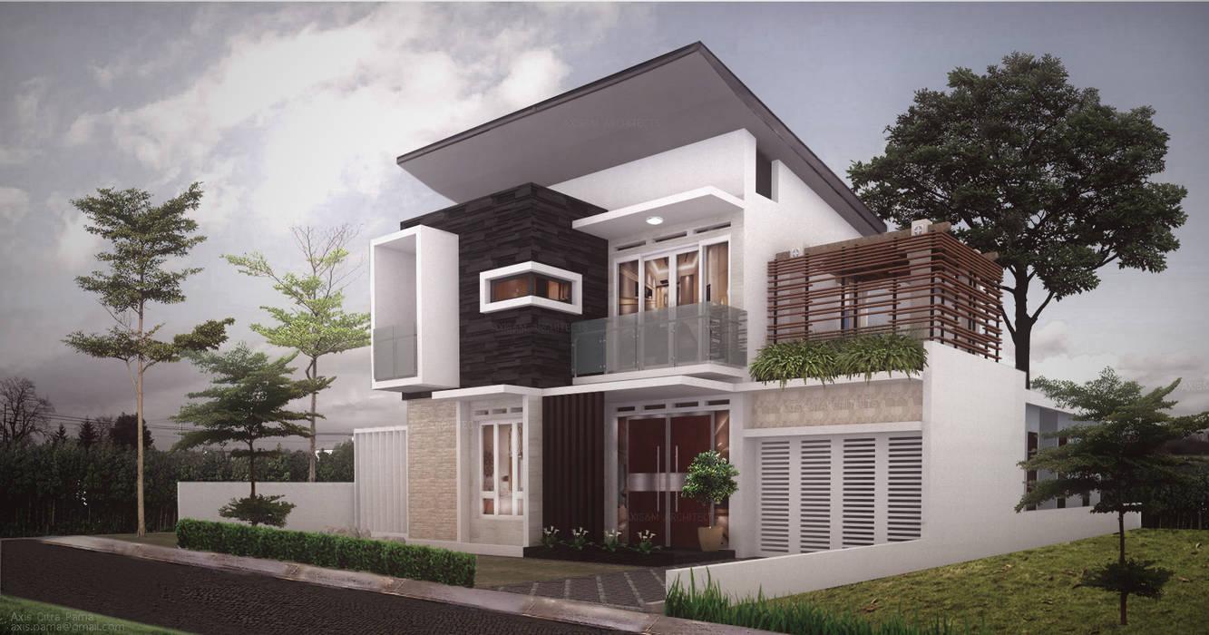 Santur house Axis&M Architects Rumah Modern Batu Multicolored