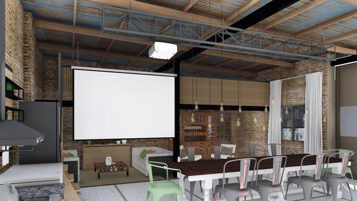 Quincho loft industrial salas multimedia de estilo por for Cocina industrial tipo loft