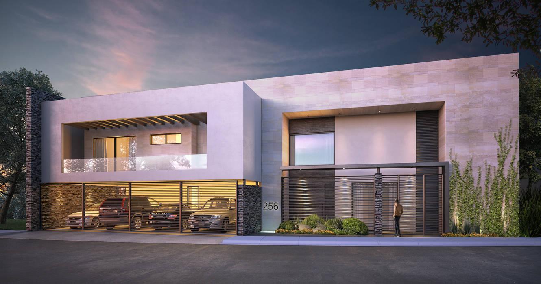 FACHADA PRINCIPAL Rousseau Arquitectos Casas modernas Blanco