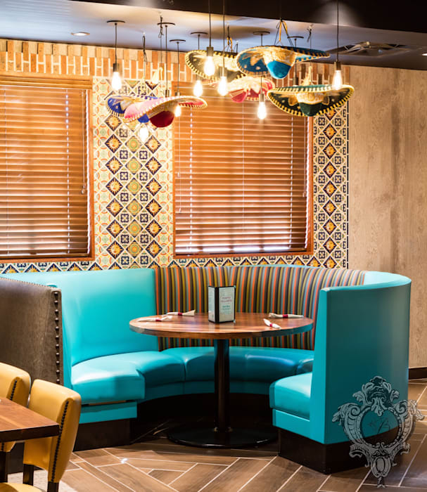Restaurant Booth by Kellie Burke Interiors Mediterranean