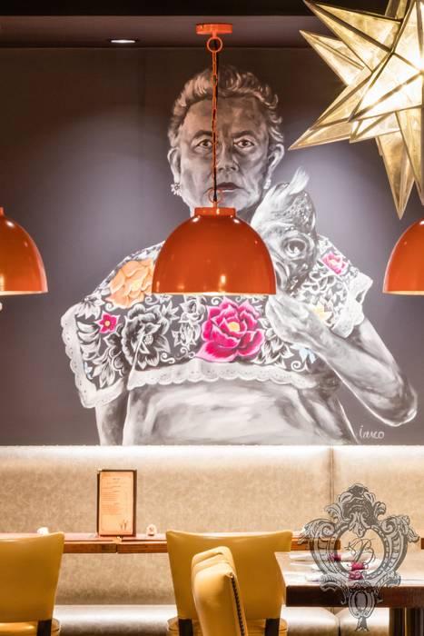 Restaurant Mural by Kellie Burke Interiors Mediterranean