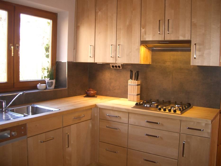 Massivholzküche in birke mit holz-arbeitsplatte ausgefallene ...