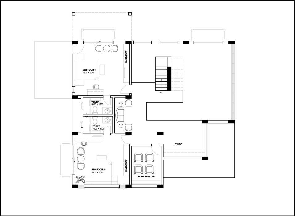 Trishur villa:  Walls by Gurooji Designs