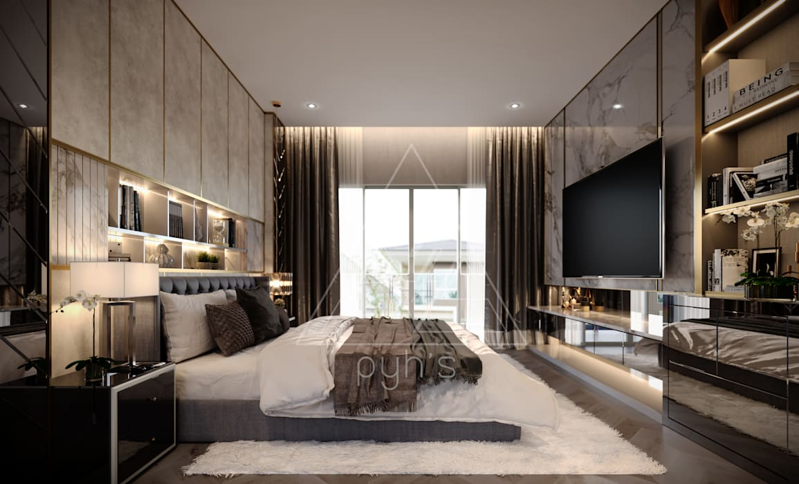 Project : Supakorn private home:  ห้องนอน by pyh's interior design studio