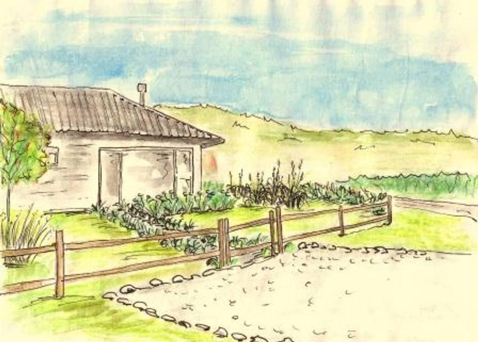Vista del frente: Jardines de estilo rural por Pell Paisajismo