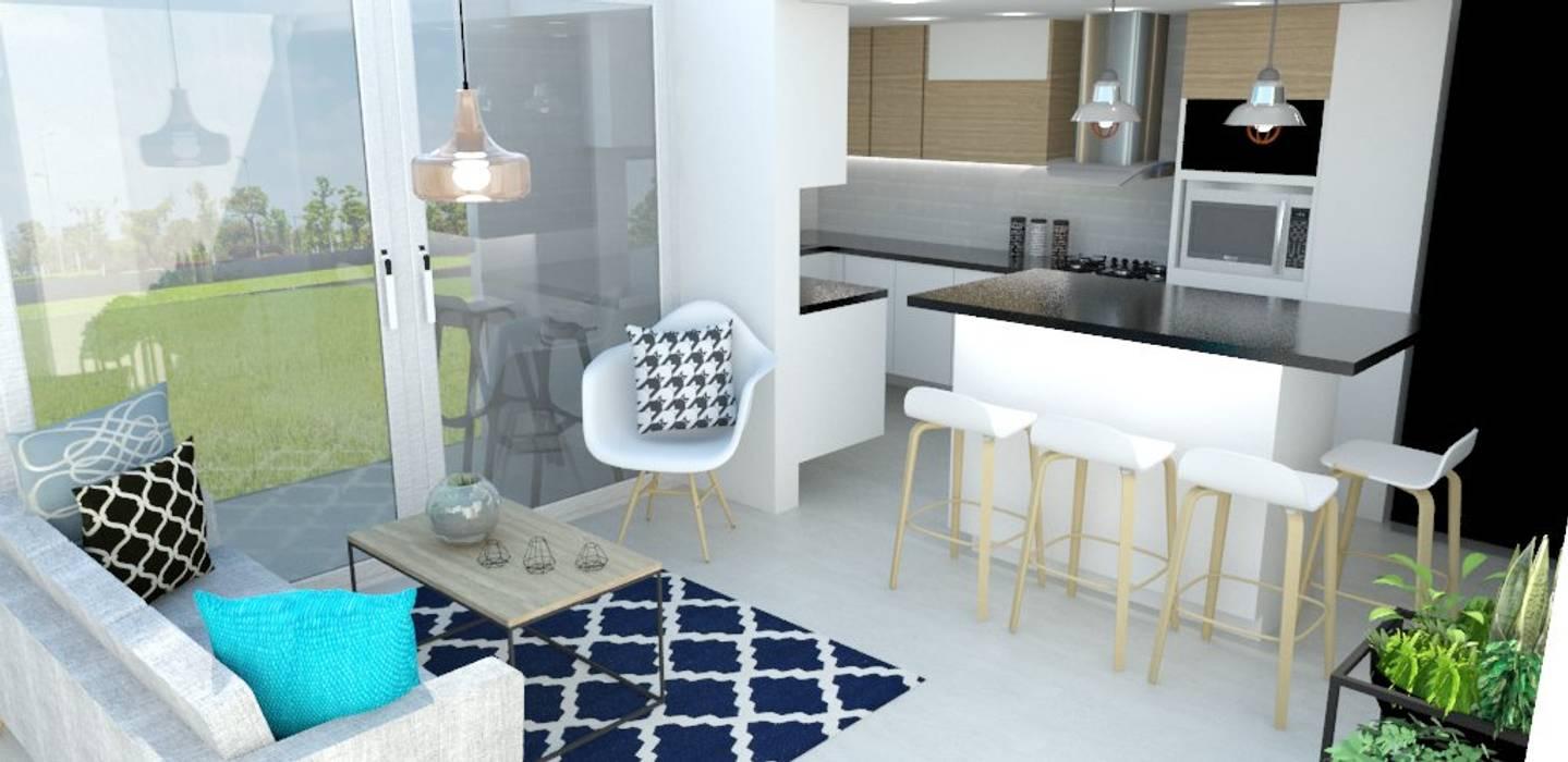 sala cocina Cocinas de estilo escandinavo de Naromi Design Escandinavo Madera Acabado en madera