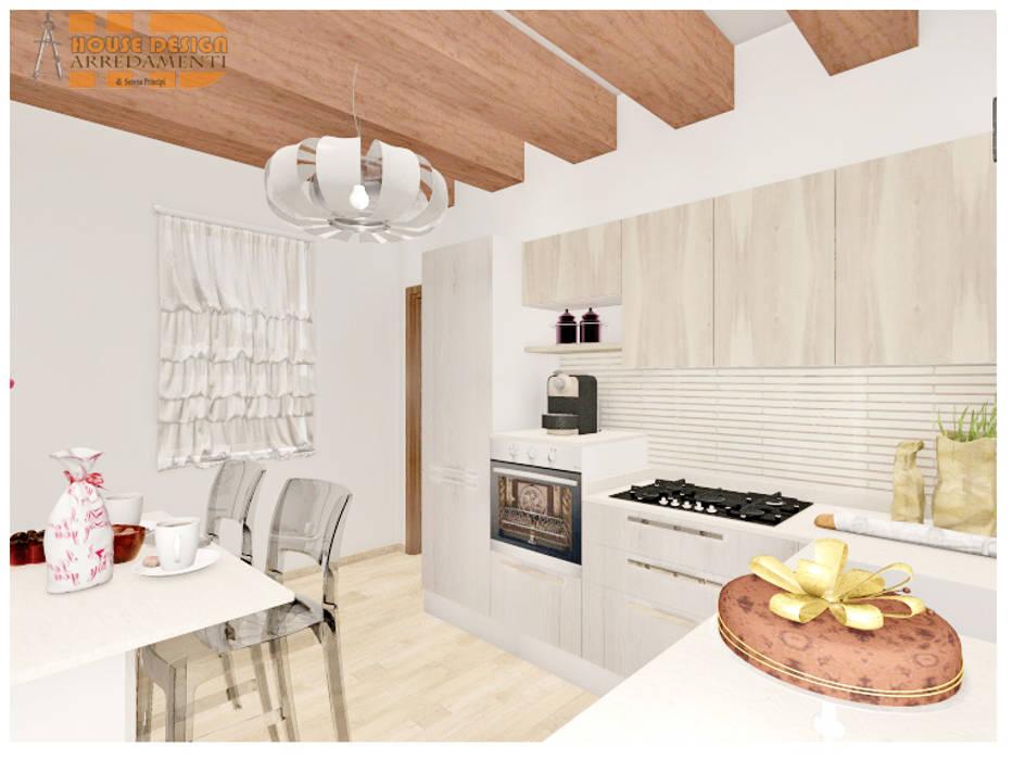 Cucina ad angolo in rovere artico e rovere nordico; top in quarzo ...