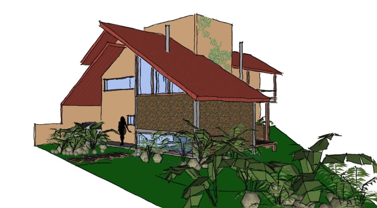 A+R arquitetura Single family home Bricks Beige