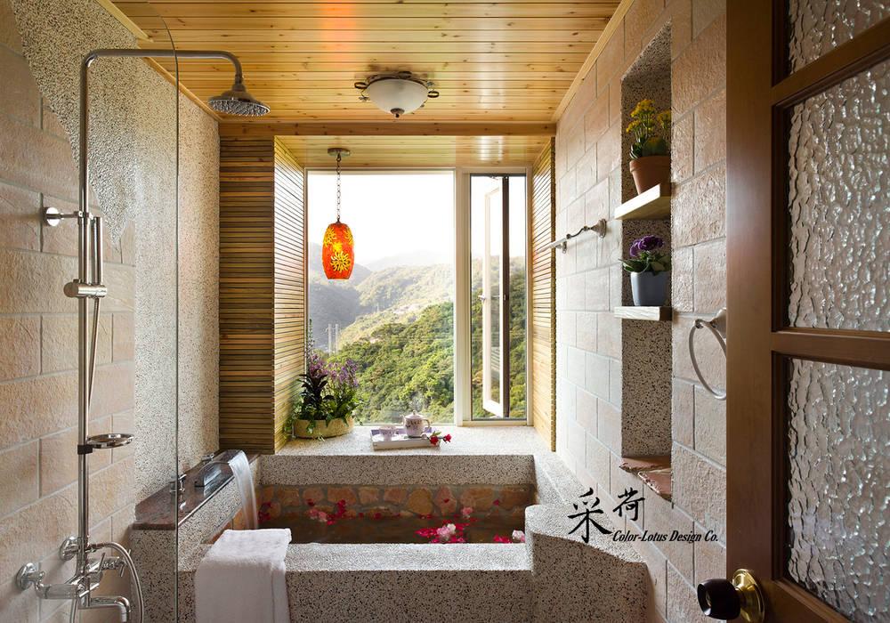 ห้องน้ำ โดย 采荷設計(Color-Lotus Design), ชนบทฝรั่ง หินชนวน