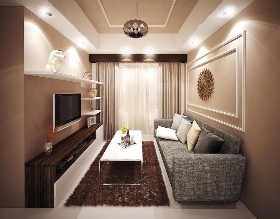 Living room design Ruang Keluarga Gaya Asia Oleh aidecore Asia Kayu Lapis