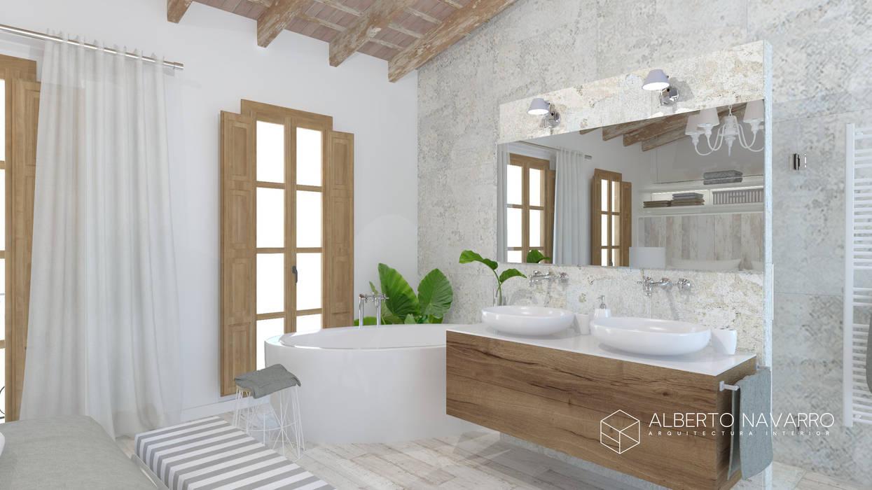 Baño en dormitorio principal: Baños de estilo  de Alberto Navarro Arquitectura Interior