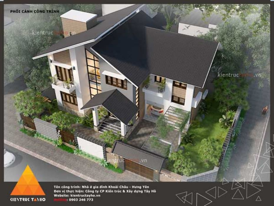 Phối cảnh Kiến trúc từ trên xuống:  Nhà gia đình by KIẾN TRÚC TÂY HỒ