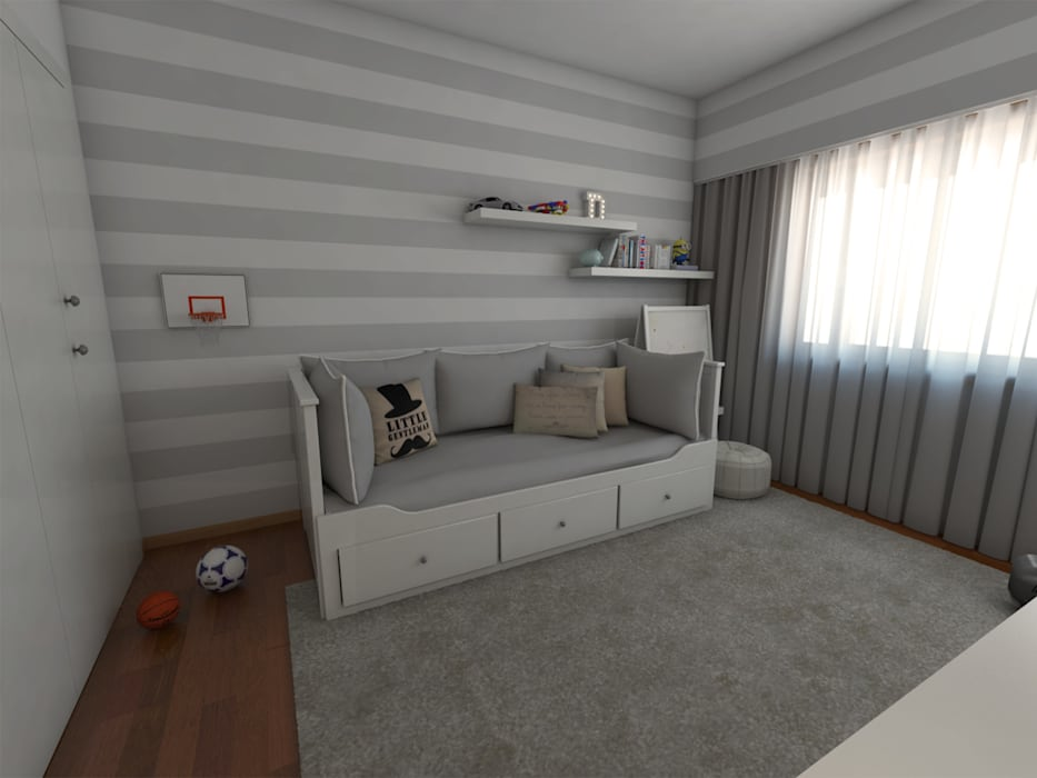 Apartamento AL30.4 - Quarto de rapaz - simulação 3D: Quarto de crianças  por The Spacealist - Arquitectura e Interiores