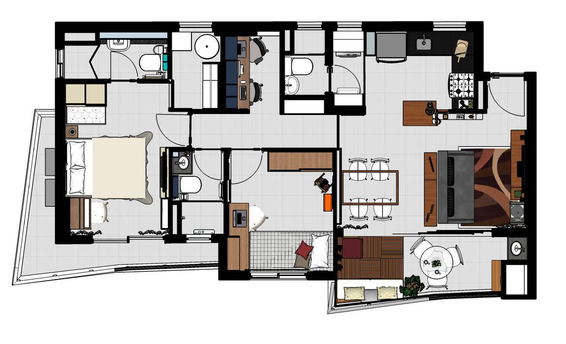 Dormitorios de estilo moderno de Ladrilho Urbanismo e Arquitetura Moderno Tablero DM