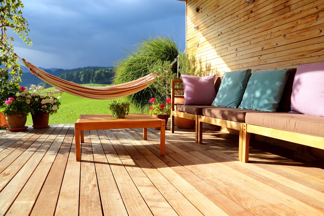 Wooden terrace by homify Country Wood Wood effect