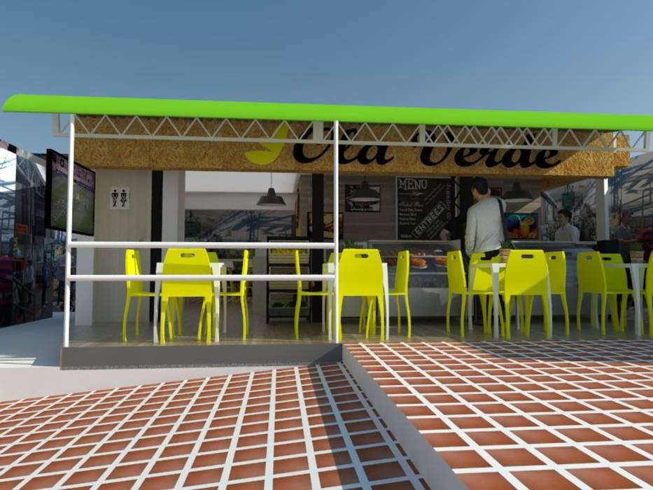Proyecto comercial cafetería Paredes y pisos de estilo industrial de Naromi Design Industrial Pizarra