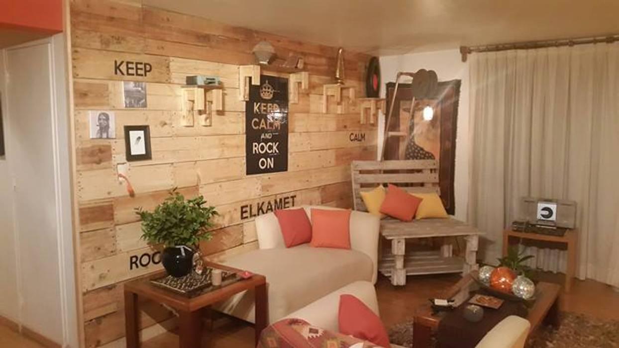Diseño de espacio para depto en la CDMX: Salas de estilo  por Forja Terra, Rústico Madera Acabado en madera