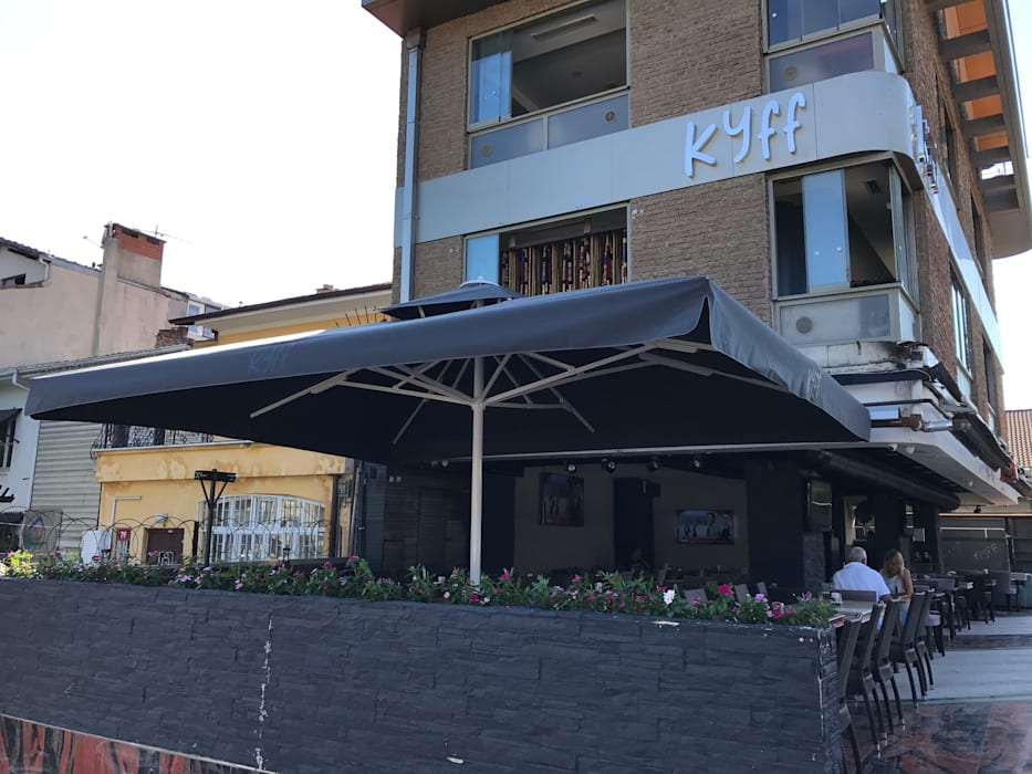 Akaydın şemsiye – KYFF CAFE ŞEMSİYESİ:  tarz Ön avlu, Tropikal Demir/Çelik