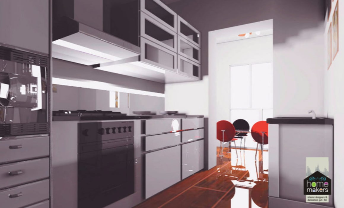 Black Kitchen:  Built-in kitchens by home makers interior designers & decorators pvt. ltd.