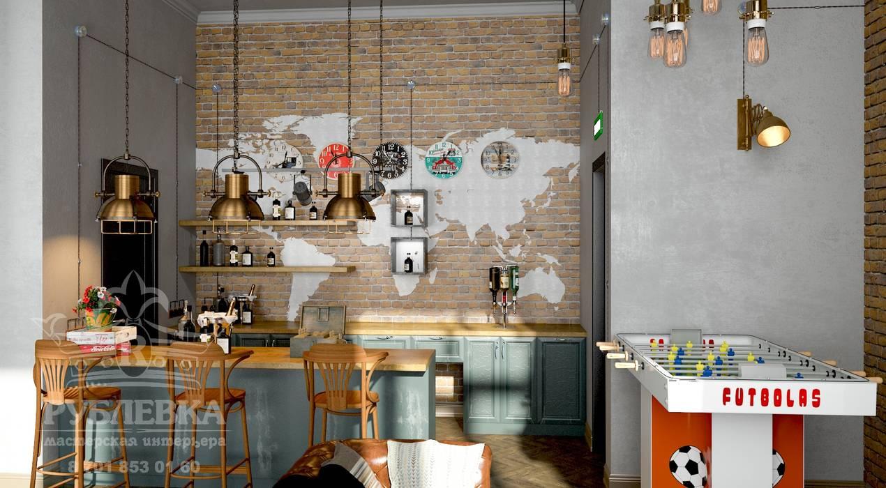 barbershop в стиле лофт: Коммерческие помещения в . Автор – мастерская интерьера РУБЛЕВКА / workshop interior RUBLEVKA