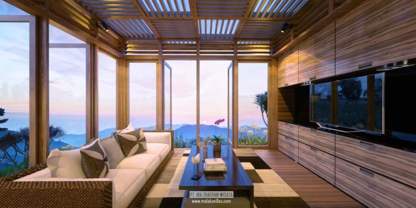Lounge Villas View Hotel Tropis Oleh Skye Architect Tropis Kayu Wood effect