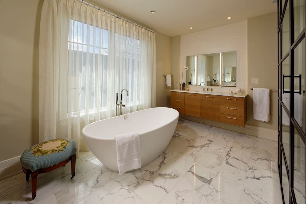 Fire Restoration in Chevy Chase Creates Opportunity for Whole House Renovation Modern Bathroom by BOWA - Design Build Experts Modern