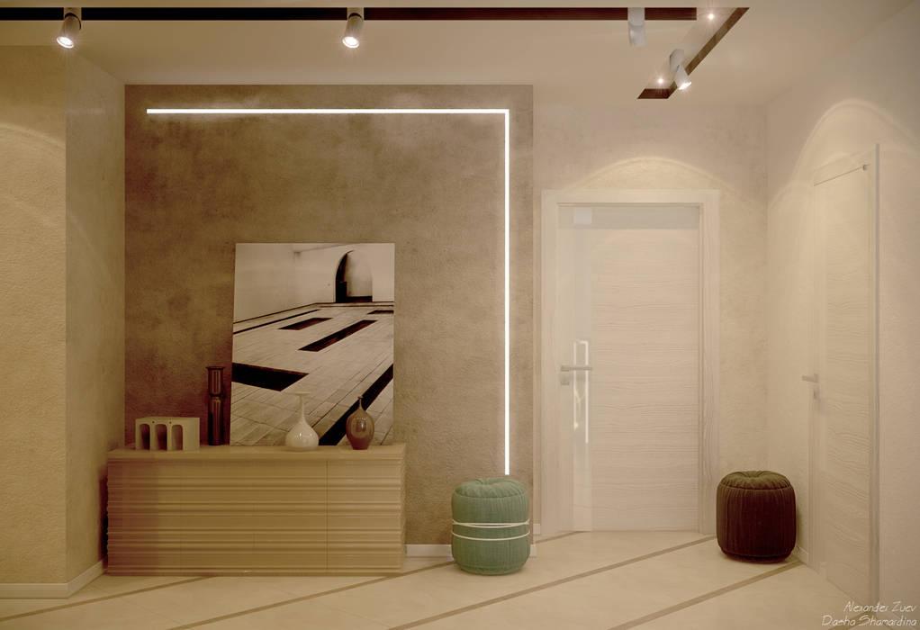 """Дизайн коридора в стиле модернизм в ЖК """"Большой"""", г.Краснодар: Коридор и прихожая в . Автор – Студия интерьерного дизайна happy.design"""