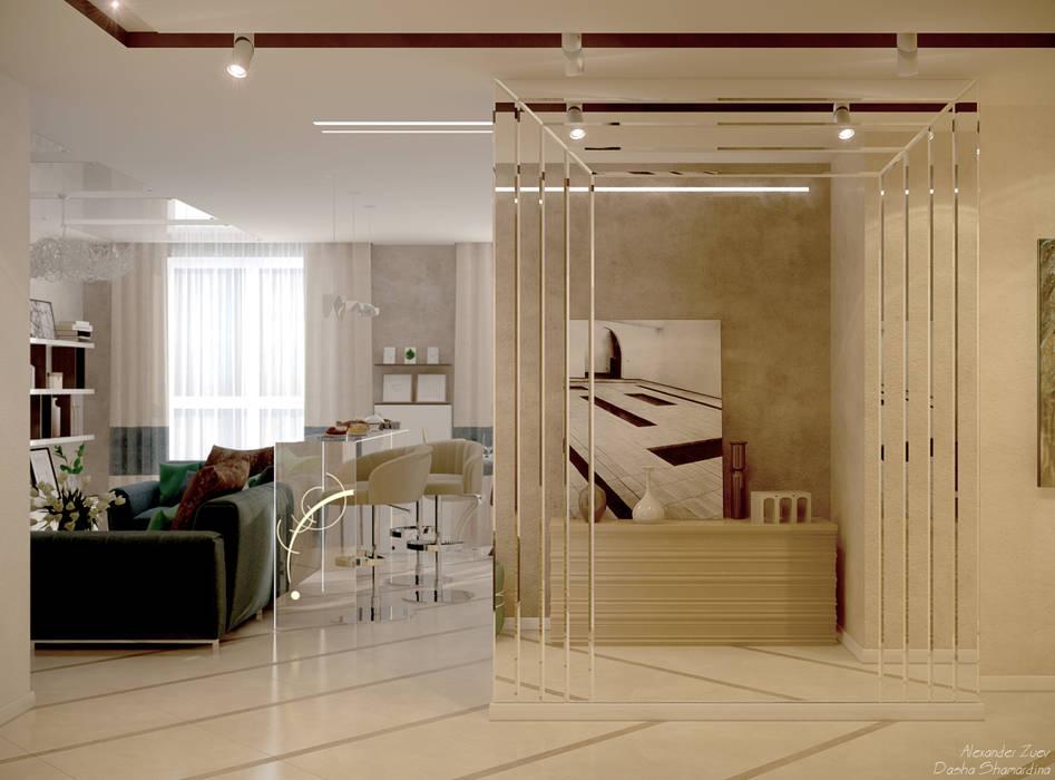 """Дизайн коридора в стиле модернизм в ЖК """"Большой"""", г.Краснодар: Коридор и прихожая в . Автор – Студия интерьерного дизайна happy.design,"""