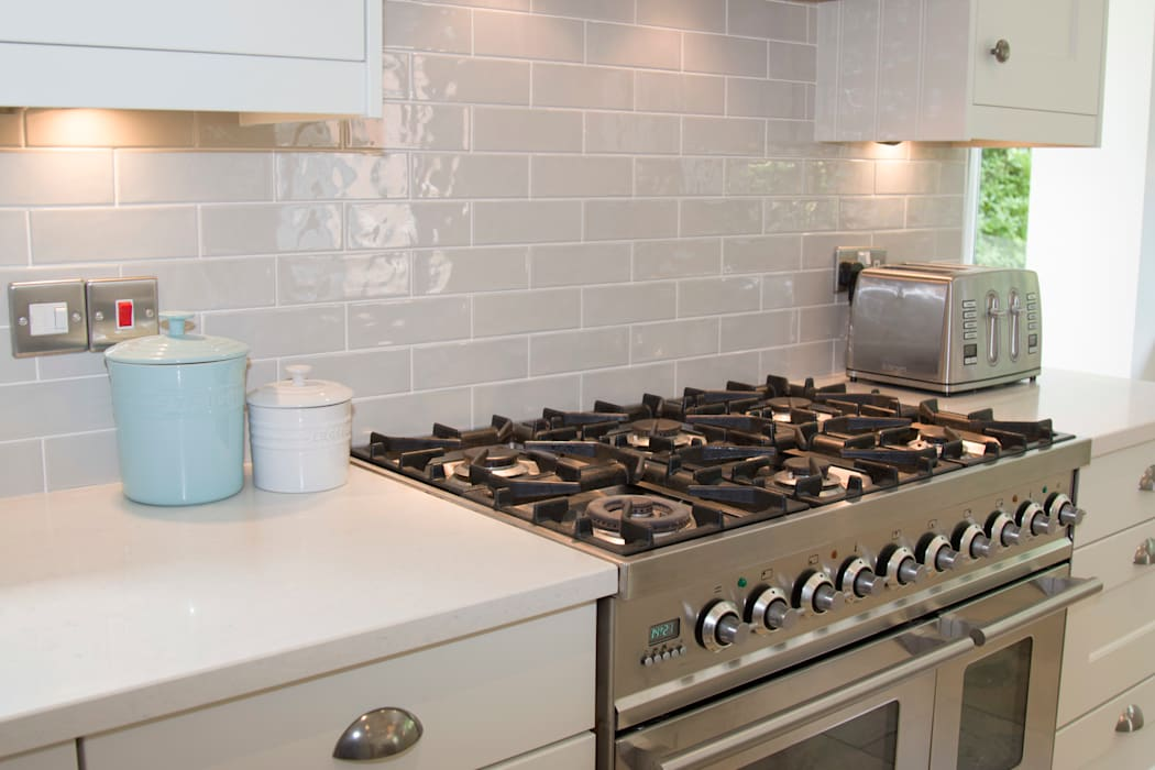 Ceramic Tiles can add colour and depth:  Built-in kitchens by ADORNAS KITCHENS