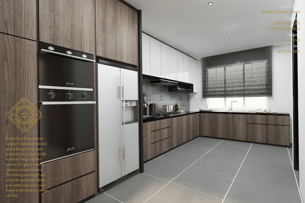 Double Storey House Corner Lot In Pelangi Indah:  Kitchen by Enrich Artlife & Interior Design Sdn Bhd