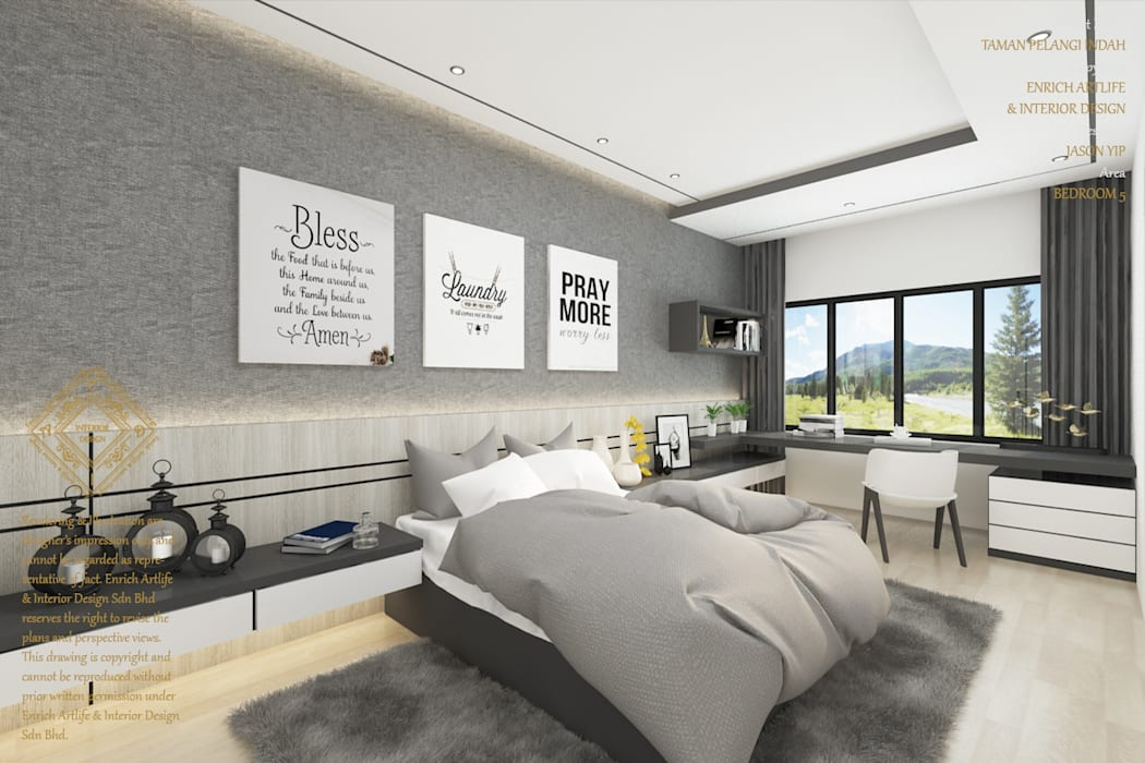 Double Storey House Corner Lot In Pelangi Indah:  Bedroom by Enrich Artlife & Interior Design Sdn Bhd, Modern