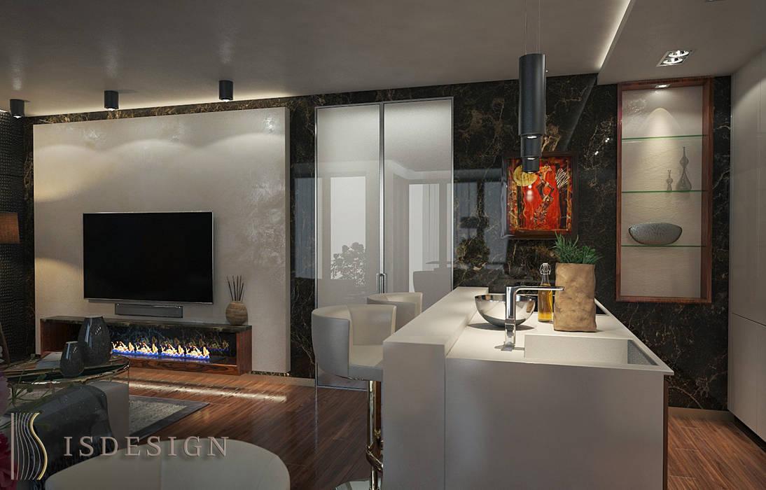 Гостиная - зона кухни: Гостиная в . Автор – ISDesign group s.r.o.