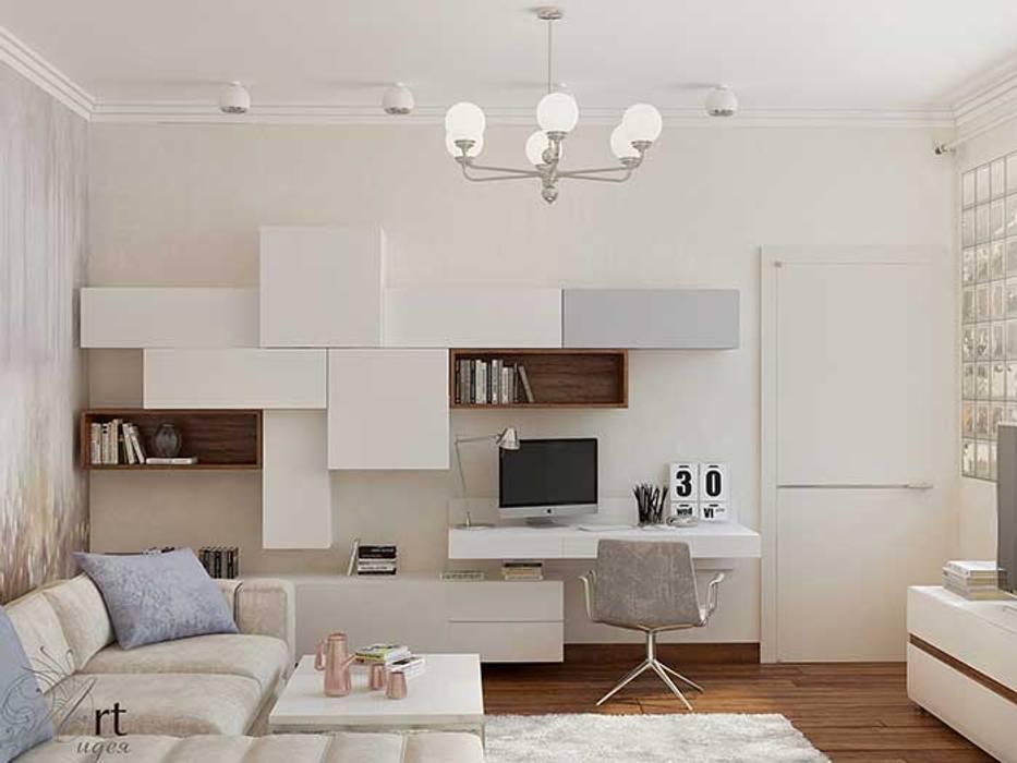 Дизайн интерьера гостиной в стиле минимализм, современный дизайн спальни, рабочего пространства: Гостиная в . Автор – Арт-Идея