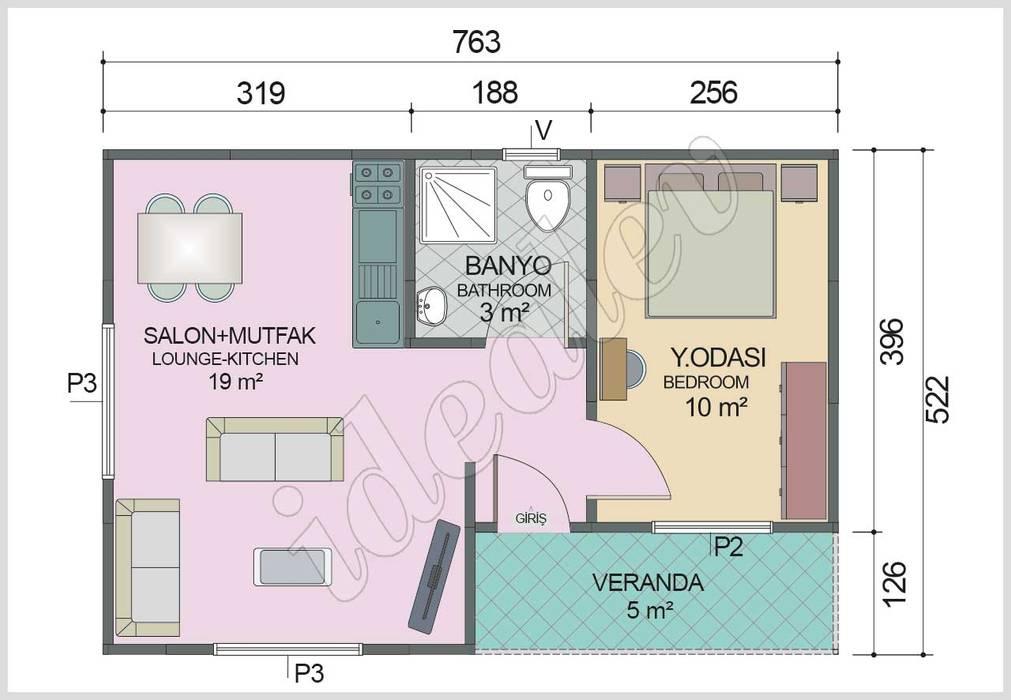 Prefabrik Ev 40 m² - Plan homify Modern