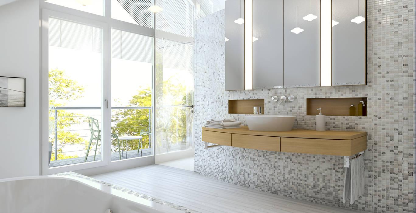 Baden + schlafen ansicht waschtisch: moderne badezimmer von dielen ...